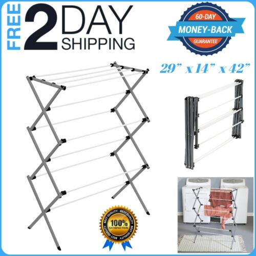 OVERSIZE FOLDING CLOTHES DRYING RACK PLASTIC AND STEEL FOR LAUNDRY ROOM STORAGE