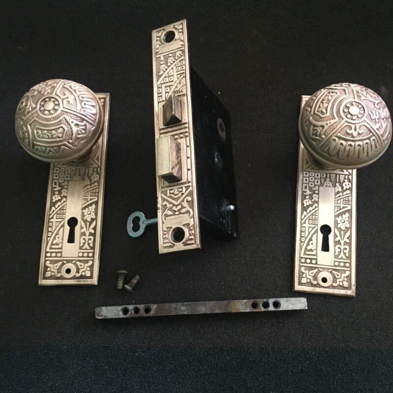 Antique Victorian  Brass Corbin Ceylon Eastlake Lockset & Skeleton Key #1