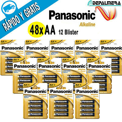 PILAS ALCALINAS AA LR6 1.5V 48x PANASONIC ALKALINE ALKALINAS PACK 12 BLISTER...