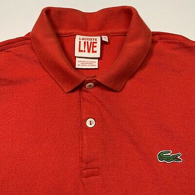Mens LACOSTE Live! Polo Shirt Red Size: 5 (Medium) Flawed