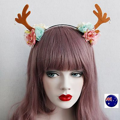 Women Girl Reindeer Deer Antlers Costume Brown Ear Rose Party Hair headband Prop