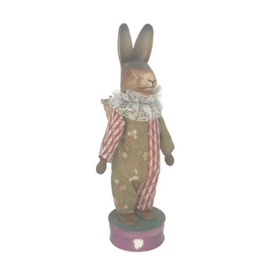 Vintage Easter Bunny Rabbit Papier Mache Candy Container Dressed On Purple Box