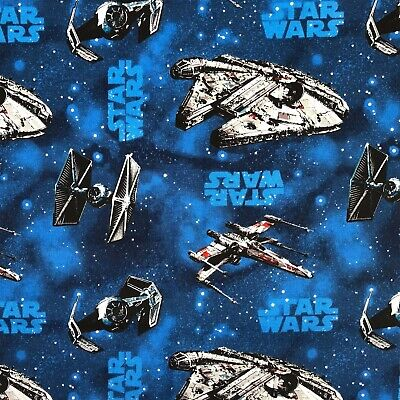 STAR WARS SHIPS ON BLUE 100% cotton fabric 44 inch/ 110cm space starwars