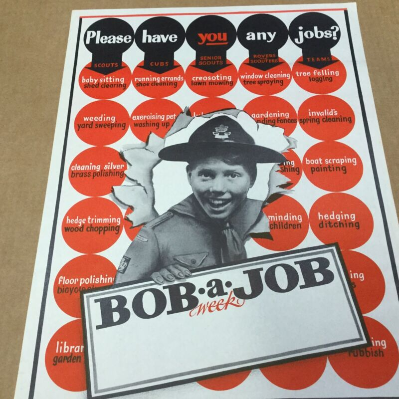 """Boy Scout Poster Please Have You Any Jobs Bob A Job Week 20"""" x 15"""""""