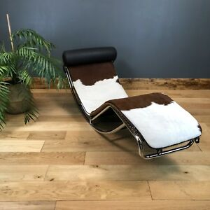 Italian Designer Cowhide Chrome Rocking Lounger Seat Chair Chaise Lounge