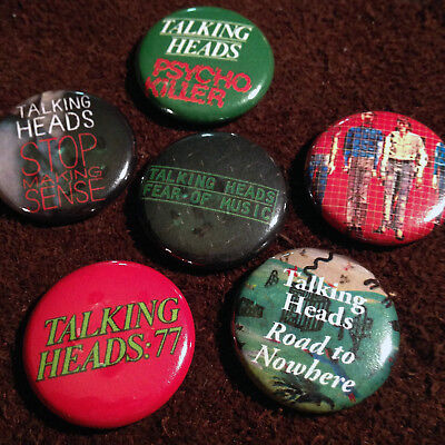 "6 Talking Heads 1"" Pinback Buttons! (Brian Eno, Tom Tom Club, David Byrne, CBGB)"