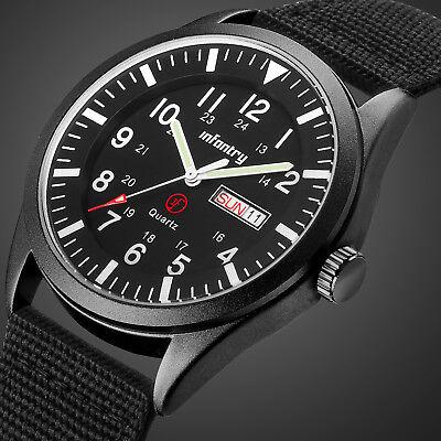 INFANTRY Herrenuhr Quarz Armbanduhr Sport Uhr Militär Nylon Schwarz Flieger