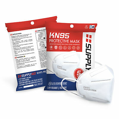 SUPPLYAID KN95 Protective Face Mask CE/ECM Certified | GB2626 Standard | 5-Pack
