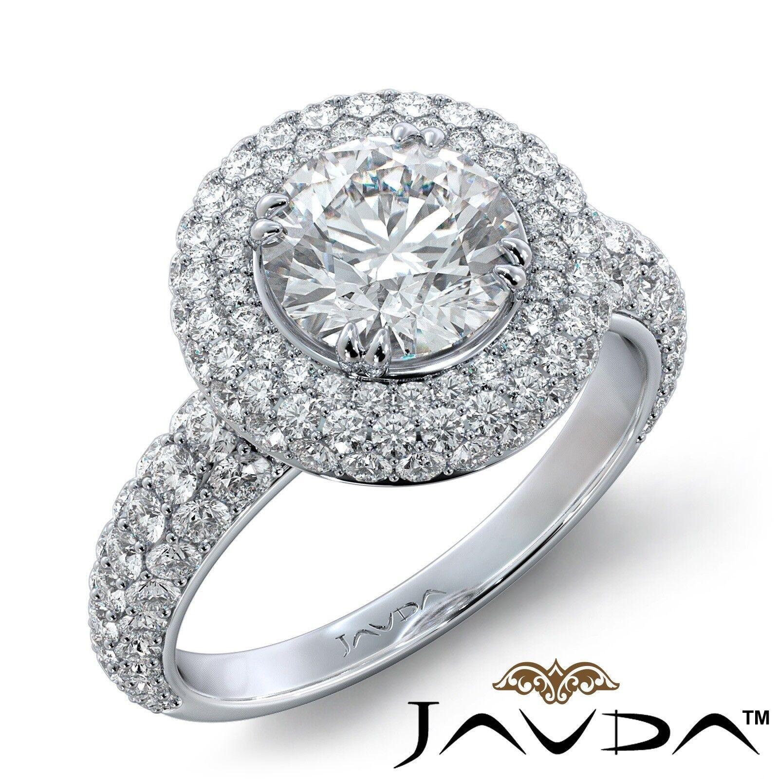 2.74ctw Trio Halo Double Prong Round Diamond Engagement Ring GIA F-VVS1 W Gold
