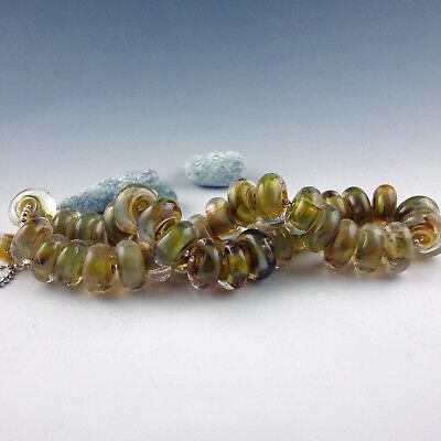 "8 Handmade Lampwork Glass Beads, Artist made Beads - ""Norwegian Wood"""