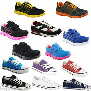 BOYS-GIRLS-KIDS-FLAT-LACE-UP-PLIMSOLLS-PUMPS-CANVAS-LADIES-TRAINERS-SHOES-SIZE