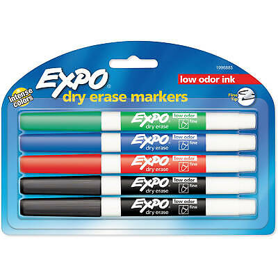 Expo Low Odor Dry Erase Whiteboard Markers, Fine Tip, Assorted Colors,