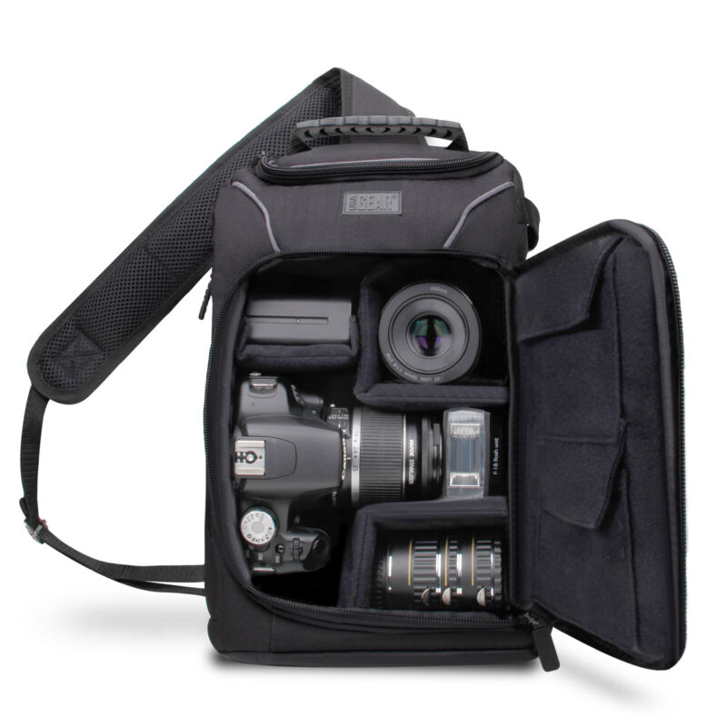 Mid-Size Camera Sling Backpack with Rain Cover & Accessory Storage
