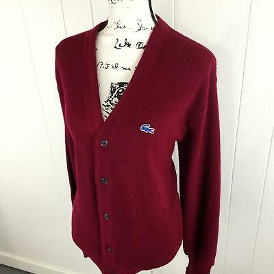 LACOSTE Button Down V-Neck Long Sleeve Red Cardigan Sweater Women's Size Large