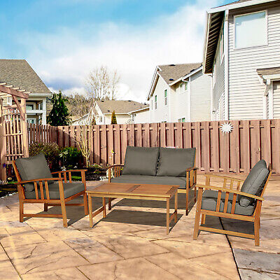 Outsunny Outdoor 4-Seater Table Set 4pcs Acacia Wood Chat Set Patio Furniture