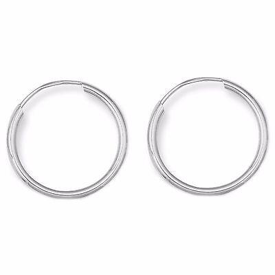 14K Real White Gold Baby Hoops Endless Hoop Earrings New 10mm