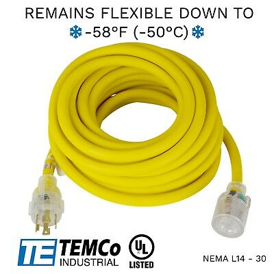 Temco 40ft Cold Weather Generator Cord Yellow Nema L14-30 125250v 30a Ul