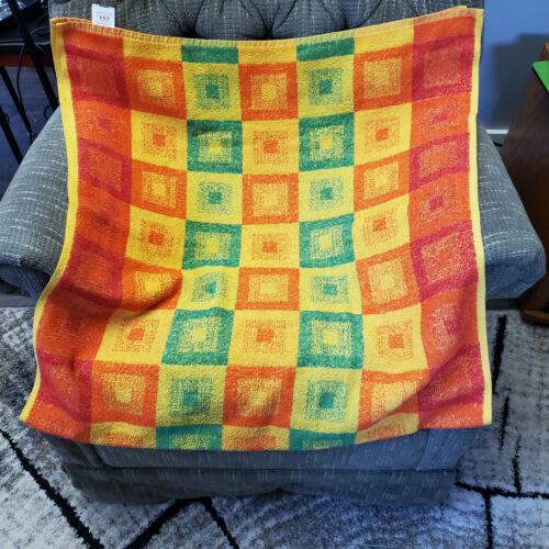 Vtg Bath Towel Yellow Orange Green Squares Tastemaker MCM Stevens Made in USA