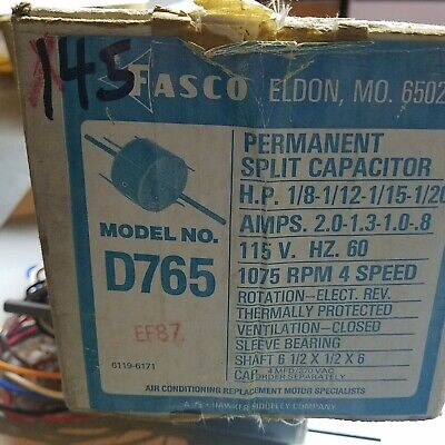 Fasco D765 Motor 18-112-1-15-120 Hp 115v 60hz 1075 Rpm 4 Speed