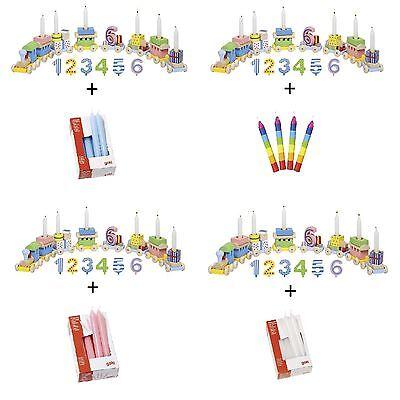 Geburtstagsdeko + Buntezahlen von 1-6 aus Holz + 10 Kerzen (Zug-geburtstag)