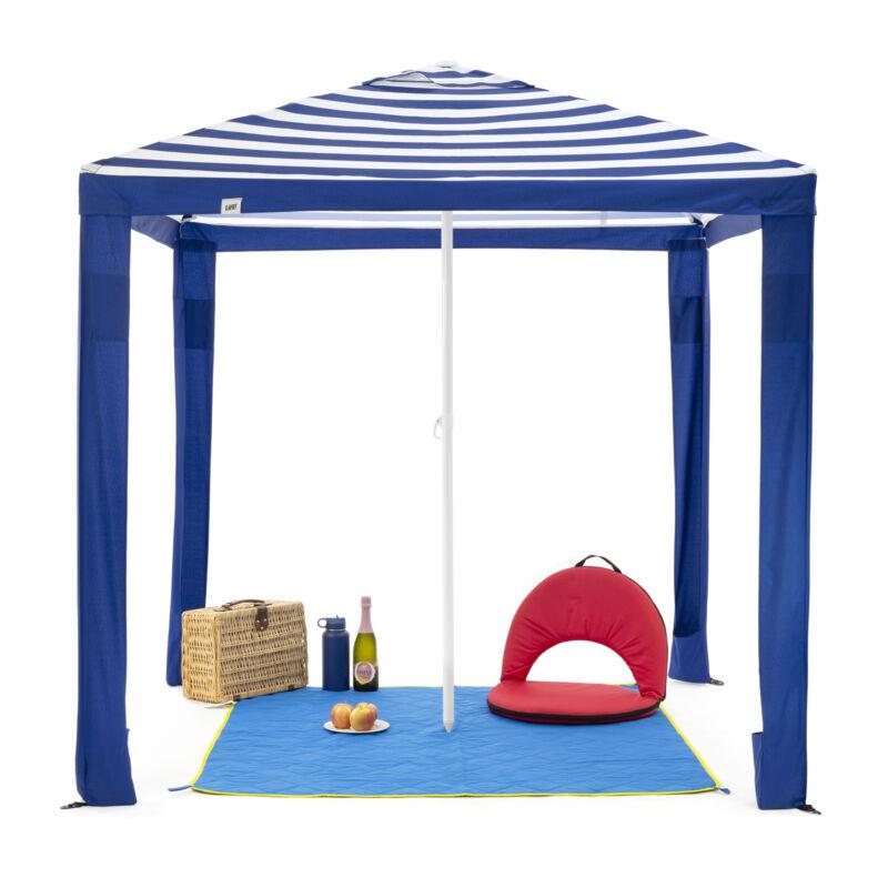 SlumberTrek Maui Outdoor Beach Cabana Patio Umbrella Shelter, Blue (Used)
