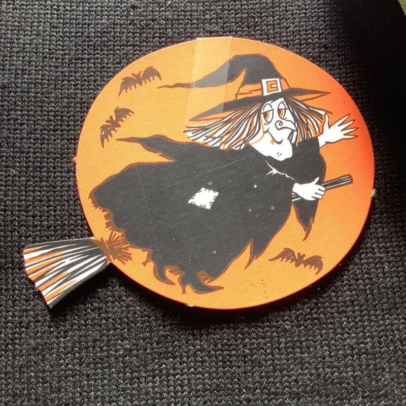 vintage paper Ephemera Halloween Diecut Witch on Broom bats