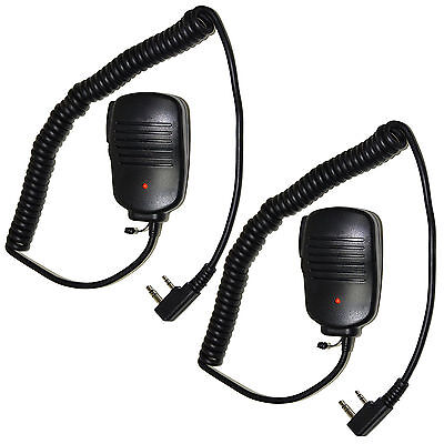 2-Pack HQRP 2 Pin Mini Speaker Mic for Kenwood NX TH TK Series Two-way Radio