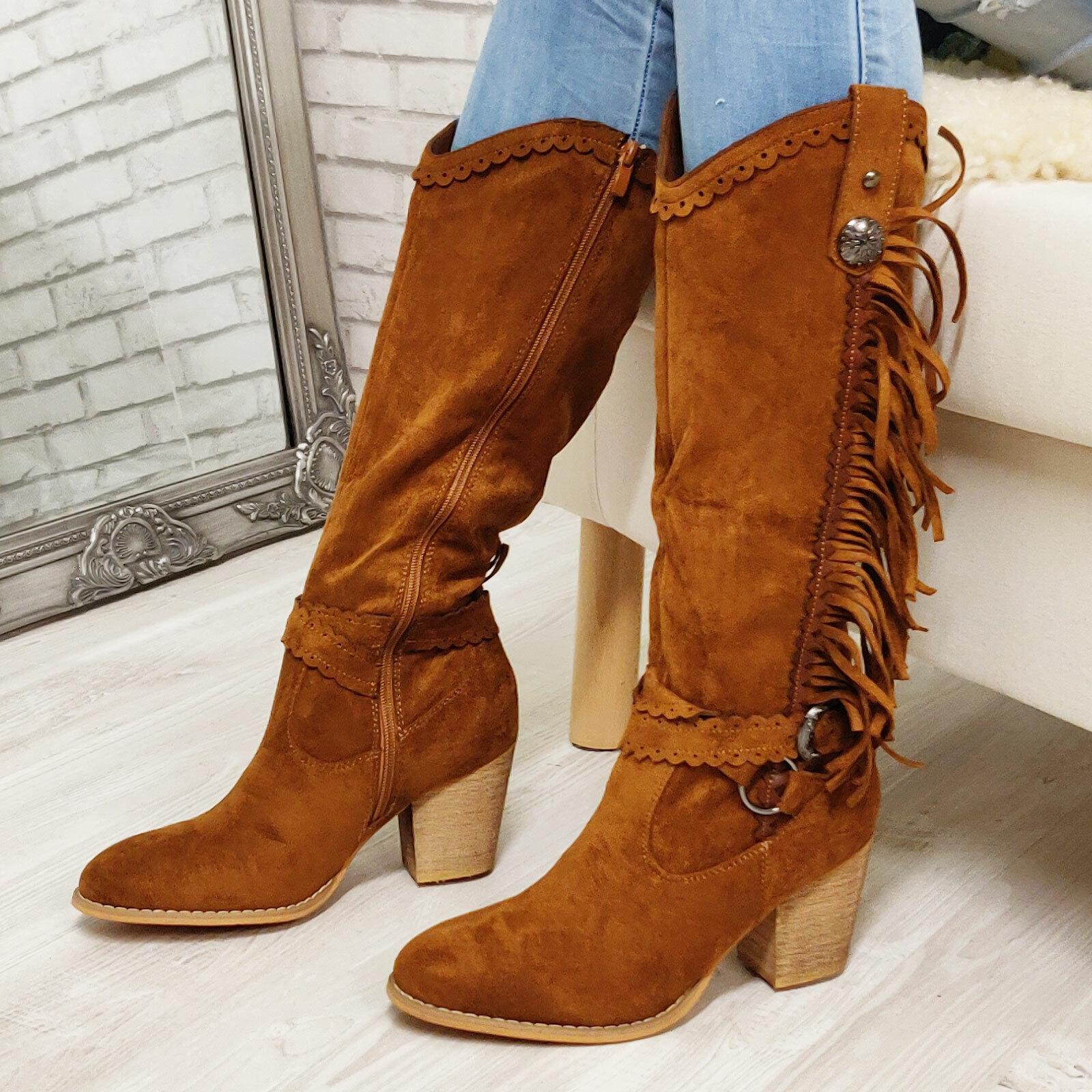 Détails sur Bottes Femme Santiags Western Cow Boy Franges Chaussures en Daim Casual Toocool