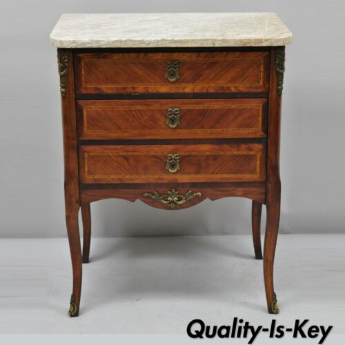 Early 20th C French Louis XV Marble Top Nightstand End Table w/ Bronze Ormolu