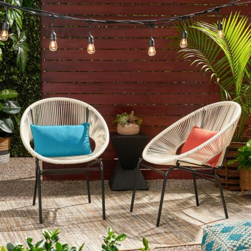 Modesty Outdoor Modern Faux Rattan Club Chair (Set of 2) Home & Garden