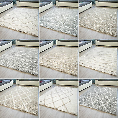 Designer Teppich Modern Fes Orientteppich Berber Raute Linien Beige Neu
