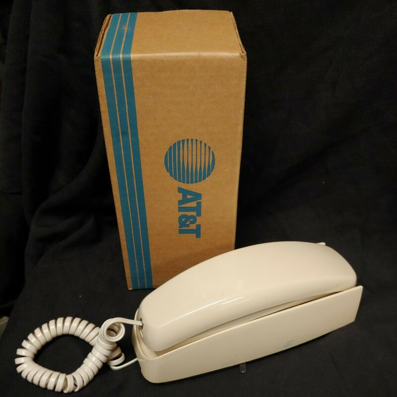 AT&T Trimline Corded Phone Landline Almond Illuminate Dial Redial Flash Mute
