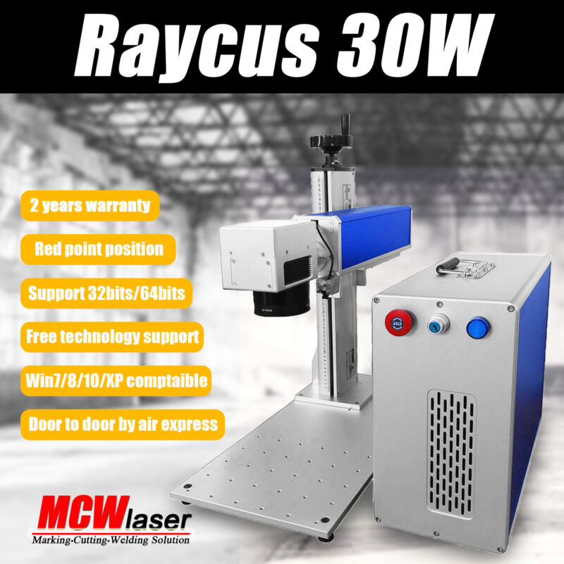 MCWlaser 30W Raycus Fiber Laser Making Machine & Rotary Chuck Free Duty US Stock