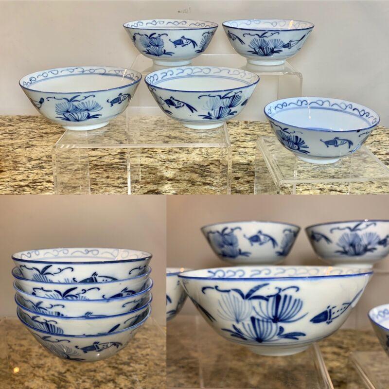 Set Of 5 Vintage China Koi/Carp Fish Blue & White Porcelain Bowls RARE! EXC!