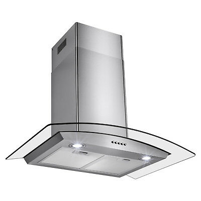 """30"""" Stainless Steel Push Control Wall Mount Kitchen Cooking Range Hood Vent Fan"""