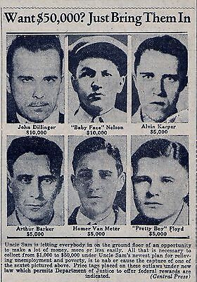 "1934 ""WANTED"" REPRINT- JOHN DILLINGER, ""PRETTY BOY"" FLOYD, ""BABY FACE"" NELSON"