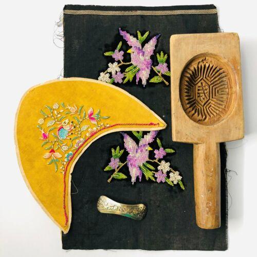 Four Vintage Peranakan  Nonya Items-Cake Mold, Slipper Tops Silver Gilt Piece