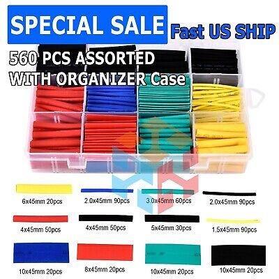560pcs Heat Shrink Tubing Insulation Shrinkable Tube 21 Wire Cable Sleeve Kit