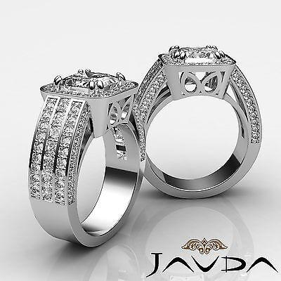 Filigree Shank Double Prong Set Princess Diamond Engagement Ring GIA F VS2 2.5Ct
