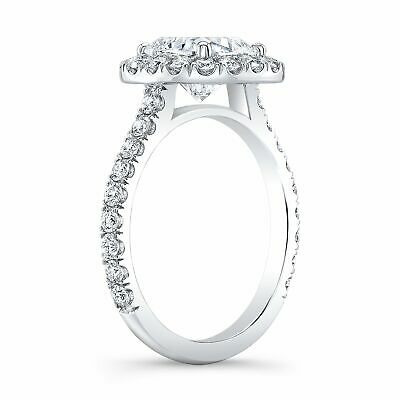 Natural 2.00 TCW Cushion Halo U-Pave Set Diamond Engagement Ring - GIA Certified 3