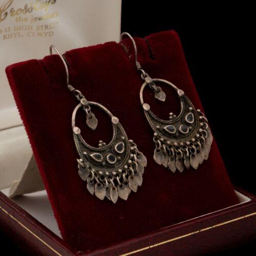 Antique Vintage Art Deco 925 Sterling Silver Etruscan Black Onyx Earrings 7.2g