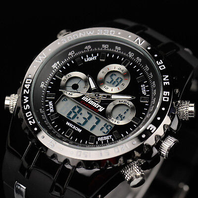 Black Rubber Watch - INFANTRY Mens Digital Quartz Wrist Watch Chronograph Military Sport Black Rubber