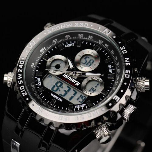 Mens Watches - INFANTRY Mens Digital Quartz Wrist Watch Chronograph Military Sport Black Rubber