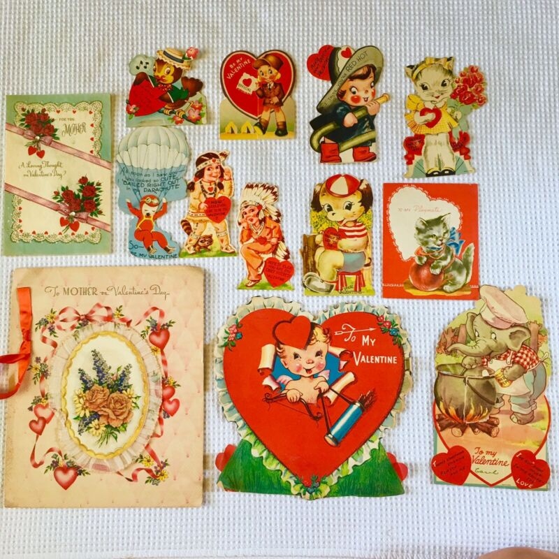 Lot 13 Antique Valentine Cards Mechanical Flocked Embossed Honeycomb 40's 50's