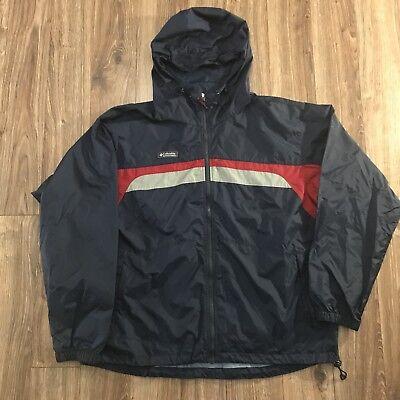 Columbia Sportswear Blue Gray Red Stripe Colorblock Lightweight Anorak Windbreak (Columbia Sportswear Nylon Parka)
