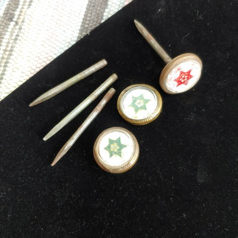 Victorian nail heads, paperweight green and red, 3 and extra pin