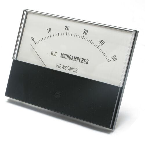 Analog Panel Meter, 0 - 50 microamperes DC, 4.5 inch