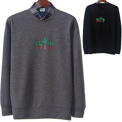 Mens Slim Fit CACTUS Round Crew Neck Sweatshirts Pullover Sweater Top E038 - S/M