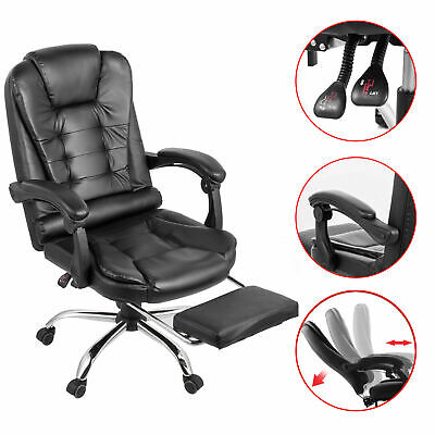 Executive Office Chair Racing Gaming Leather High Back Recliner W/ Footrest