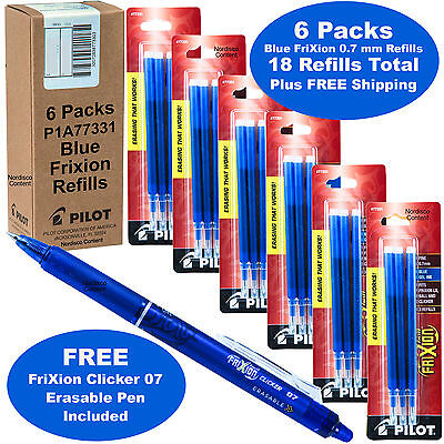 Frixion Pen Refills 0.7mm Blue Gel Ink 6 Packs Of 3 With Blue Frixion Pen